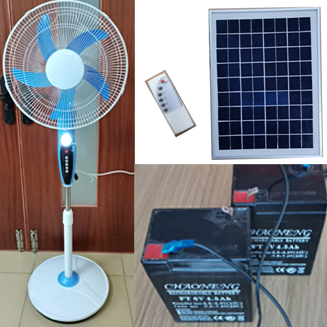 12V DC Solar rechargeable  Stand Fan with LED/USB charging output/Remote control